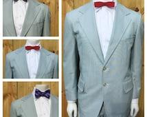 Vintage 70s Men's 2 Piece PINSTRIPE Green & White KNIT Suit --- 1970s KNIT Suit --- Mens Size 44