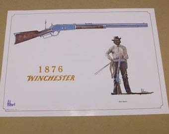 """1968 Fred Fellows """"1876 Winchester"""" Rifle Print,Handsigned by The Artist"""