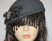Black Wool Beret with Dangle Fringe and Gem Embellishment