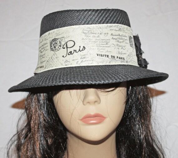 Gambler Straw Hat: Black Straw Gambler Style Hat With Paris Band