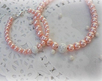 Mommy and Me Matching Bracelets-FREE SHIPPING-Mommy and Child Bracelets-Mother Daughter Bracelets-Pearl Peach Rose
