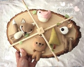 BABY MOBILE - Forest Baby Mobile - Woodland nursery - Forest Creatures, Pink bird, cute deer, baby fox