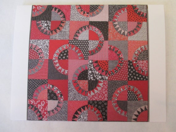 Red & Black Licorice quilt note card (folded)