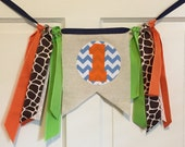 HIGHCHAIR BANNER Rag Banner ONE Banner Garland - Made To Match Your Party Decor