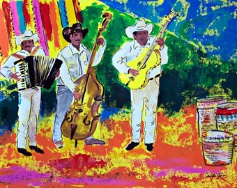 "Original painting of Mexican musicians at Mexican market street, acrylic on paper  19.5""x 27.5"""