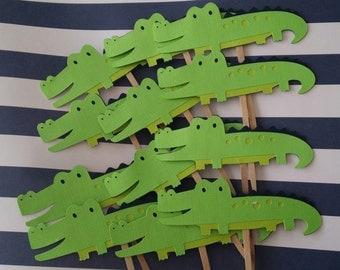 12 Alligator cupcake picks/toppers