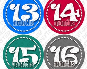 Month to Month baby stickers - Baby monthly stickers 13 - 24 months - Bodysuit Romper Stickers - Monthly Baby Stickers - BOYS DANCING DOTS
