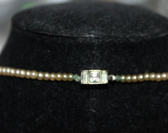 Fab 40's Faux Pearl and Rhinestone Clasp Necklace