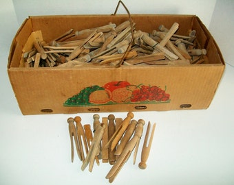 Vintage Wood Peg Clothespins By the Dozen