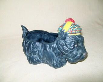 Vintage Scotty Dog Planter Ceramic Plaid Cap Hand Made