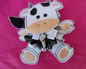 Over The Top Cow Hair Bow - OTT Cow Hair Bow - Boutique Hair Bow - Cow Boutique Hair Bow