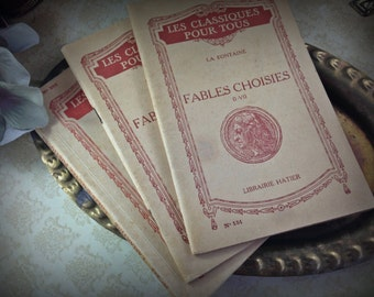 Antique French Paper Books Worn Ivory Red Ink Fables and Poetry Display (3 Books)