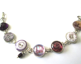 Purple antique button bracelet, 1800s buttons, silver links. China and glass buttons