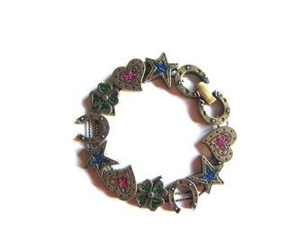 Avon Lucky Slide Bracelet Shamrocks Horseshoes Brass and Enamel Bracelet A Touch of Luck Horse Lover Gift