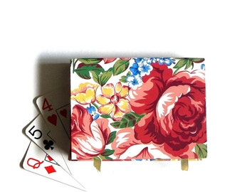 Avon 1994 Gift Boxed Dusty Roses Floral Playing Card Set Plastic Coated Game Cards