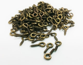 200 PCS - Half Drilled Bail Bead Screw Jewelry Finding Bronze Tone C0079