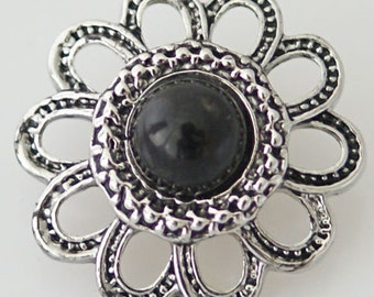 1 PC 18MM Black Rhinestones Flower Silver Snap Candy Charm KB7039 Cc0448