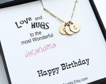 Grandma Personalized Initial Necklace, Children Initial Necklace, Four Initial Necklace,Grandchildren Initials, Grandma Gift, Grandma card