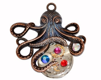Steampunk Octopus / Kraken Pendant Necklace containing Watch Movement. Sent on Black Cord. Hand Made in Cornwall, UK