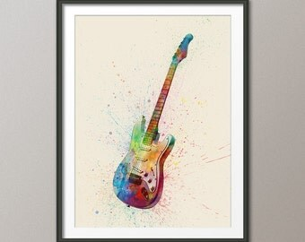 Electric Guitar, Abstract Watercolor Music Instrument Art Print (1993)
