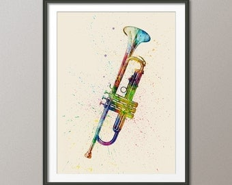 Trumpet, Abstract Watercolor Music Instrument Art Print (1999)