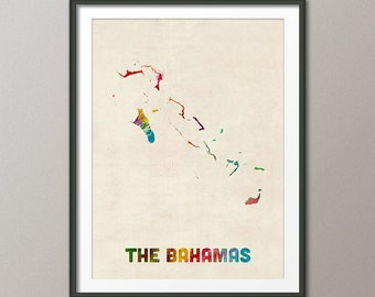 The Bahamas Watercolor Map, Art Print (2022)
