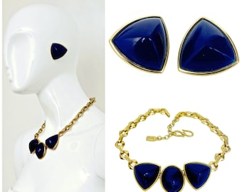 Vintage Yves Saint Laurent Blue Chunky Geometric Earrings Necklace Set