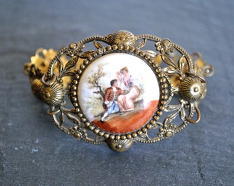 VINTAGE DANCING COUPLE porcelain bracelet