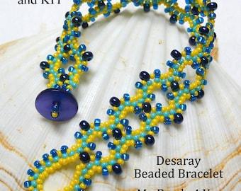 Beaded Bracelet Kit, PDF Beading Tutorial, Kit, PDF Beaded Bracelet Pattern, Beading Instructions, Seed Bead Tutorial, Beading Kit
