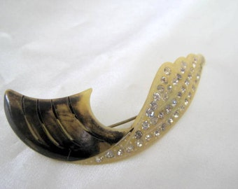 Celluloid  Rhinestone Brooch - 30's Feather- Stone Design Pin