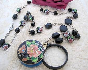 Cloisonné Magnifier Necklace -  Black Glass Beads - Vintage Jewelry