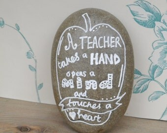 Thank You Teacher Appreciation Gift, Hand drawn Quote Paper Pebble Paper Weight