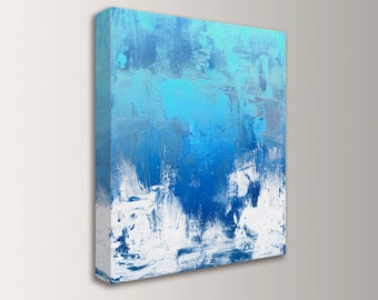 "Blue and White Art, Abstract Painting, Canvas - Unique, Aqua, Cobalt Blue and White Wall Decor - "" Gloaming """