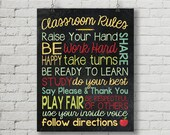 Classroom rules Teacher Digital Chalkboard Word Art 11x14 or 8x10 - Back to School