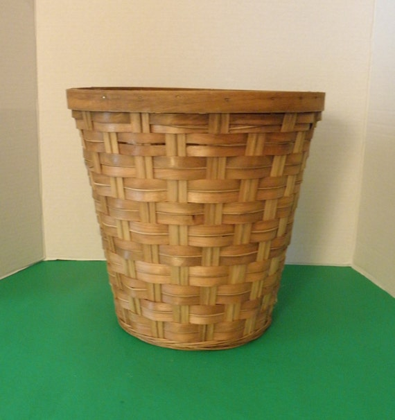 Items similar to woven wicker trash can waste basket plant holder on etsy - Wicker trash basket ...