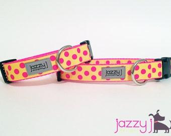 Yellow and Hot Pink Polka Dot Dog Collar