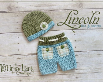 Newborn Shorts and Hat Set  - Baby Photo Prop