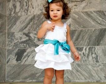 Flower Girl Dress - Teal Flower Girl Dress - Baby Girl Dress - White Toddler Dress - White Flower Girl Dress - Birthday Dress Girl - Outfit