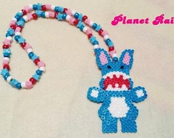 Scary Evil Bunny Perler Kandi Necklace - Ready to Ship