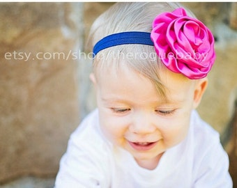 Fuchsia Pink & Navy Blue Headband - Newborn Baby Toddler Girls Adult - Pink - Headband - Photo Prop - Nautical - Baby Gift - Summer Headband
