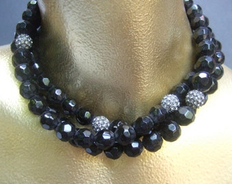 Elegant Jet Glass Beaded Triple Strand Necklace c 1980s