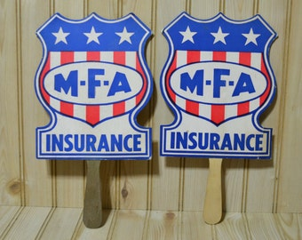 Vintage M-F-A Insurance Cardboard Hand Fans Set of 2 Advertising Advertisement  Red White Blue