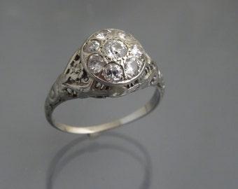 Art Deco 14k white gold engraved 9 stone diamonds engagement ring