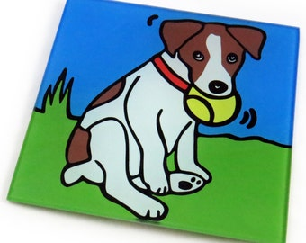 Jack Russell Terrier/Jack Russell Terrier Puppy/Dog/Puppy Tempered Glass Trivet/Hot Plate