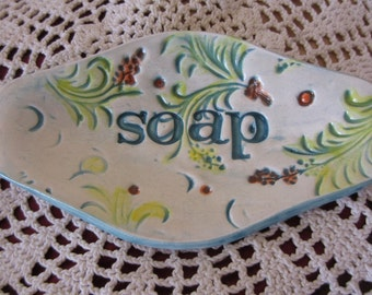 Turquoise and White Ceramic Flower Oval Soap Dish Spoon Holder Kitchen Decor