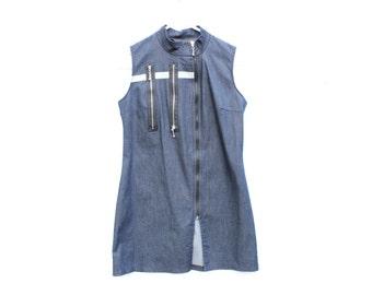 90s Y2K Babe Sci Fi Futuristic DENIM Zip Up High Collar Top / Mini Dress