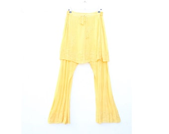 Floatiest 90s Indian High Waist Hippie Pants / Flares / Trousers w/ Overskirt / Attached Mini Skirt