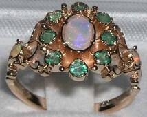 9K Rose Gold Natural Colorful Opal & Green Emerald Unique Rosette Flower Cluster Pave Ring - Antique Stlye - Customize: 9K,14K,18K Gold