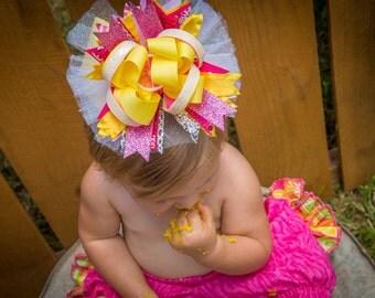 Pink lemonade party custom ott lemon slice ott mega bow 6-7 inches