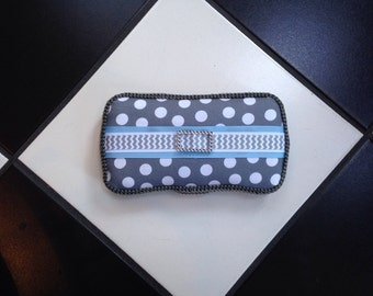 Boutique Diaper Wipes Travel Case Light Blue Gray Grey Polka Dot Chevron